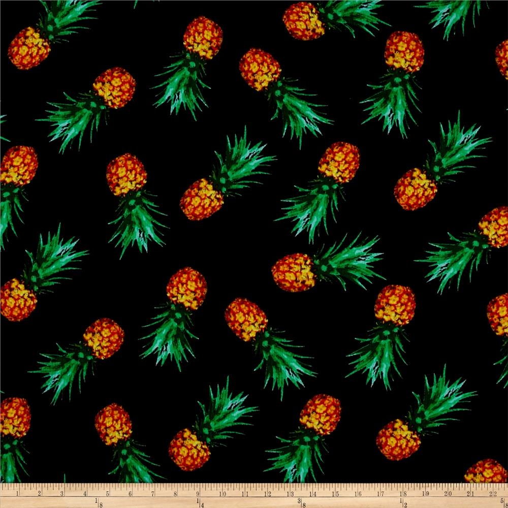 Pineapple Rayon Crepon Print Black/Orange
