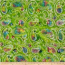 Indian Batik Caledonia Garden Paisley  Green