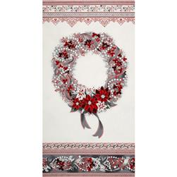 Robert Kaufman Holiday Flourish Metallic 24 In. Wreath Panel Silver
