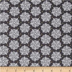 All That Glitters Metallic Scroll Medallions Dark Gray