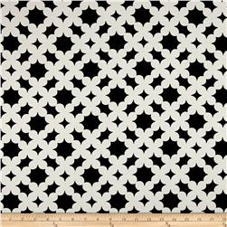 Polyester Crepe Clovers Black/White