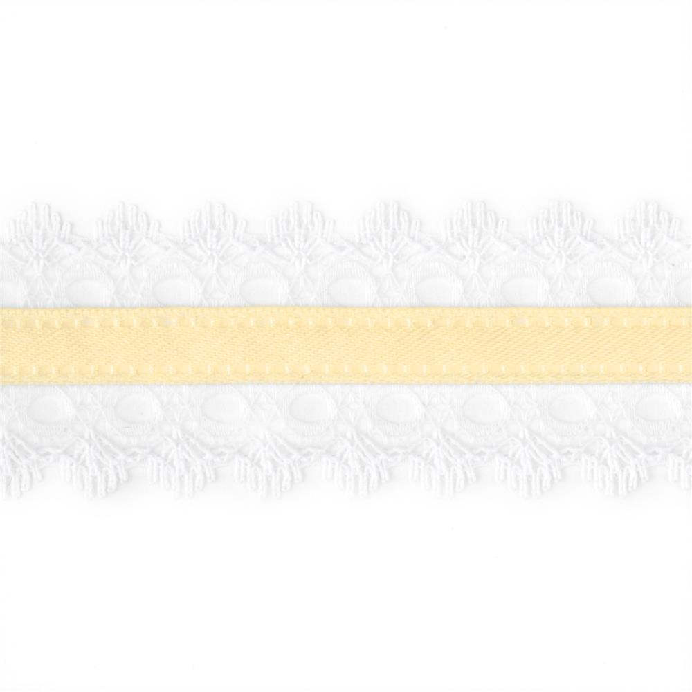 "1 1/2"" White Lace Satin Center Ribbon Ivory"