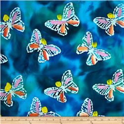 Indian Batik Hand Painted Butterfly Aqua/Purple