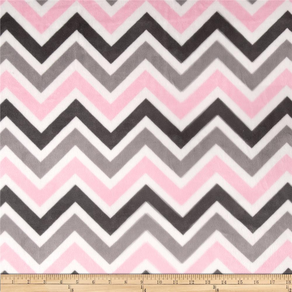 Minky Cuddle Chevron Baby Blush/Silver