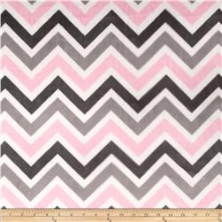 Minky Cuddle Zig Zag Blush/Silver Fabric