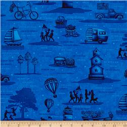 Libertyville Patriotic Folk Novelty Toss Navy Blue
