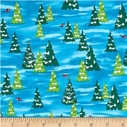 Fun With Rudolph Pine Trees Dark Blue