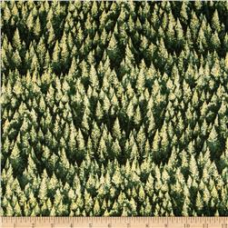 Woodsy Winter Metallic Trees Hunter/Gold
