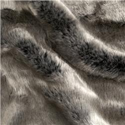 Tissavel Luxury Faux Volga Fur Metallic Silver Fabric