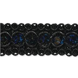 "7/8"" Trish Sequin Metallic Braid Trim Roll Black"