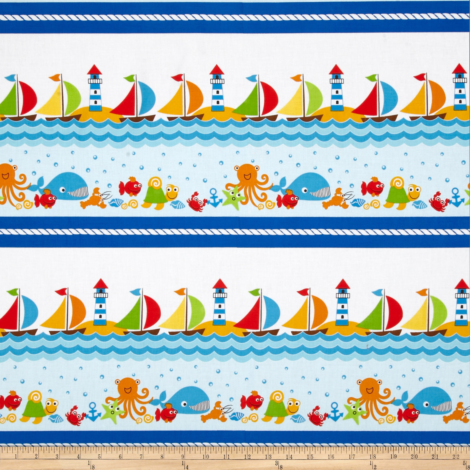 Seaside Holiday Seaside Stripe White Fabric