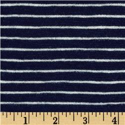 Designer Yarn Dyed Jersey Knit Stripes Navy/Cream Fabric