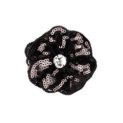 Jeweled Posey Sequin Brooch 2-1/2'' Black