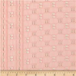 Cotton Eyelet Weave Border Pink