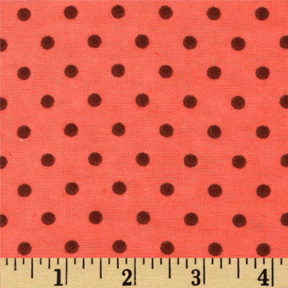 Aunt Polly's Flannel Small Polka Dots Coral/Brown