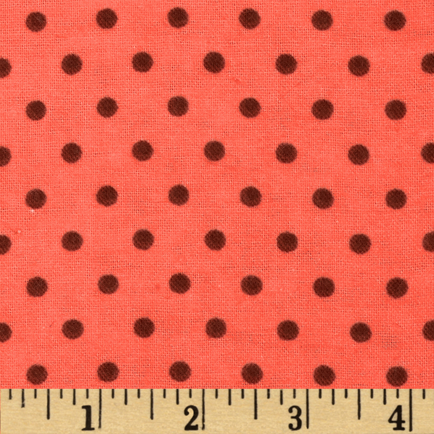 Aunt Polly's Flannel Small Polka Dots Coral/Brown Fabric