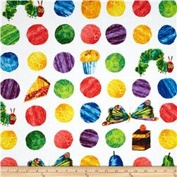 The Very Hungry Caterpillar Dots Large Scattered Fruit Whtie