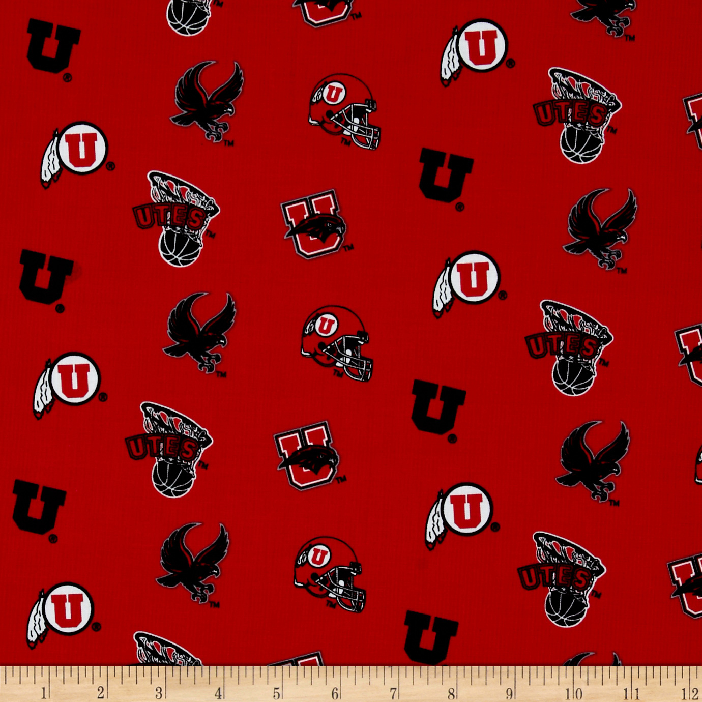 Collegiate Cotton Broadcloth University of Utah Fabric