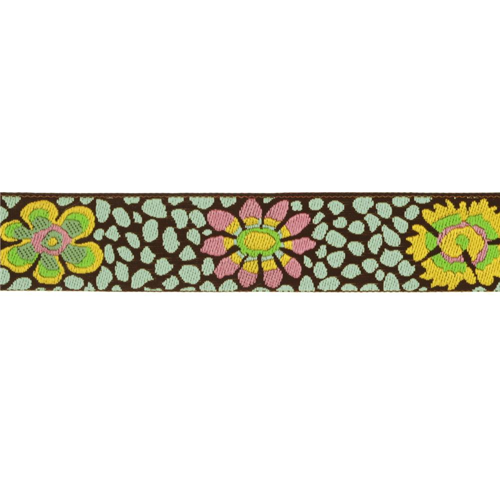 Kaffe Fassett 7/8'' Ribbon Guinea Flower Green/Brown