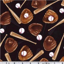 Timeless Treasures Baseball Bats & Gloves Black