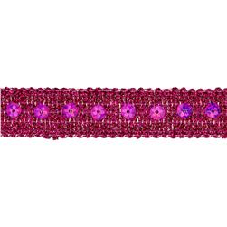 "3/4"" Adriana Metallic Sequin Braid Trim Roll Fuchsia"