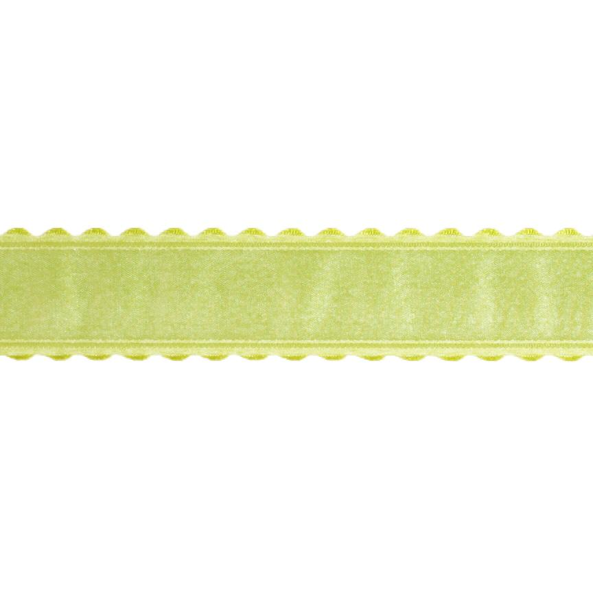 1.5'' Satin Scalloped Edge Ribbon Parrot Green