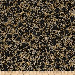 Kaufman Winter's Grandeur 4 Metallics Scrolls Black