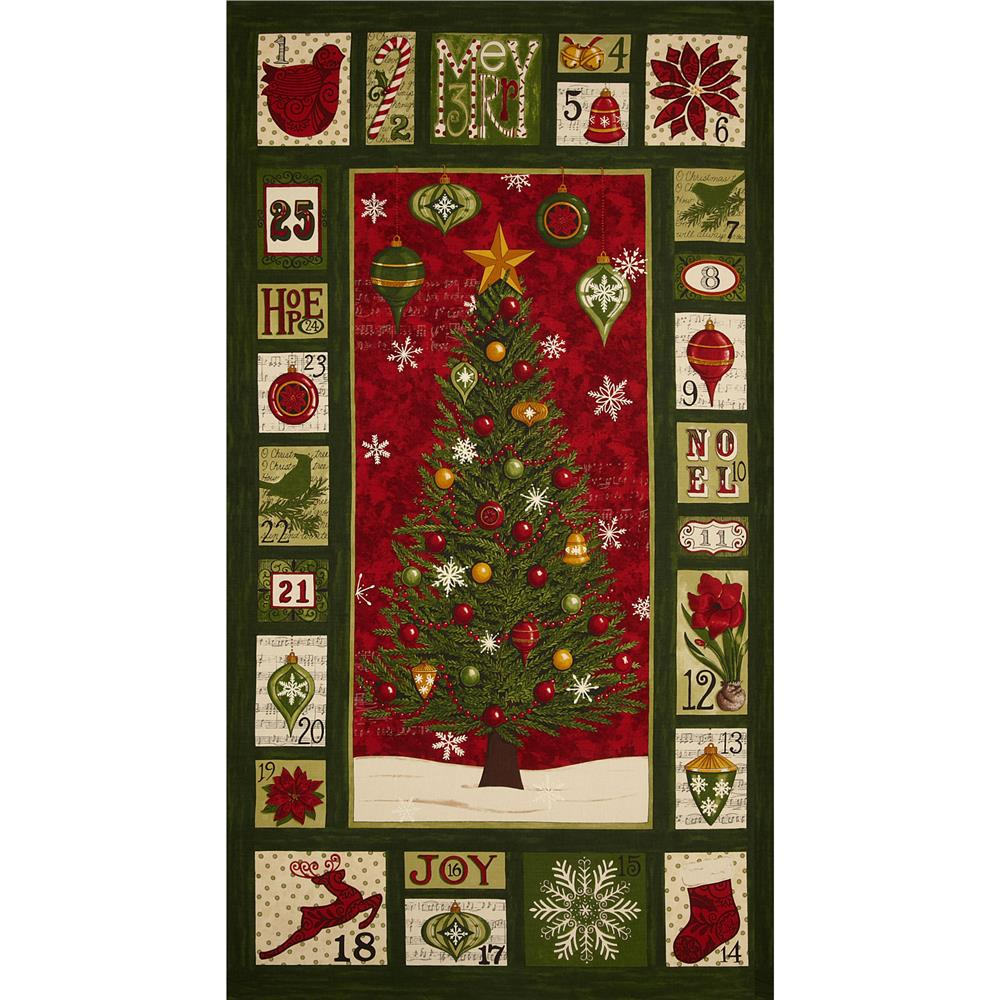 Moda Christmas Countdown Panel Christmas Green