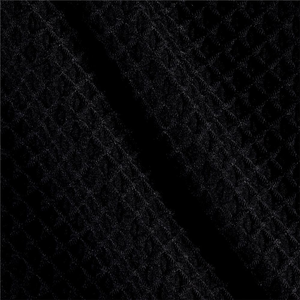Polyester Spandex Latice Knit Pique Black