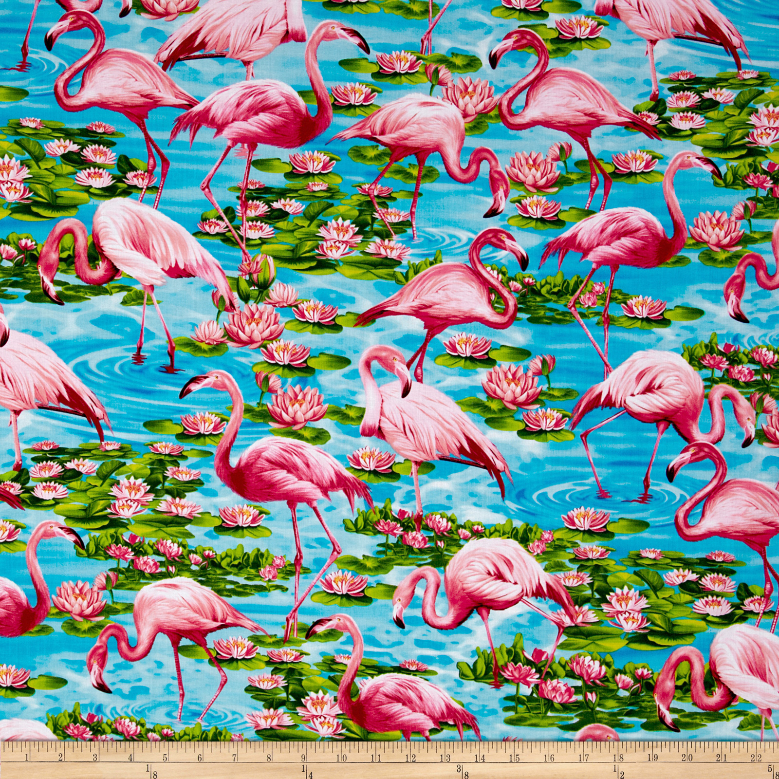 Timeless Treasures Flamingos Turquoise Fabric