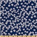 Poly Voile Floral Blue/White