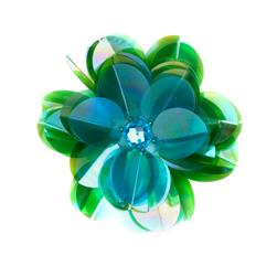 Vinyl Triple Layer Sequin Flower Applique Turquoise