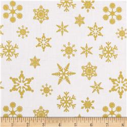 Riley Blake Gold Sparkle Snowflakes Gold