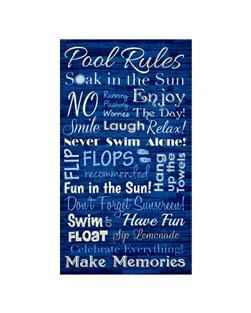 Timeless Treasures Pool Rules Panel Blue