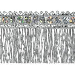 "1 1/4"" Ester Sequin Metallic Fringe Trim Roll Silver"