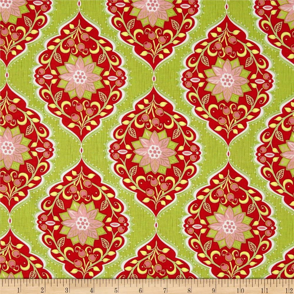 Holiday Bouquet Poinsettia Tapestry Green