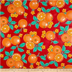 Oil Cloth Oranges Red