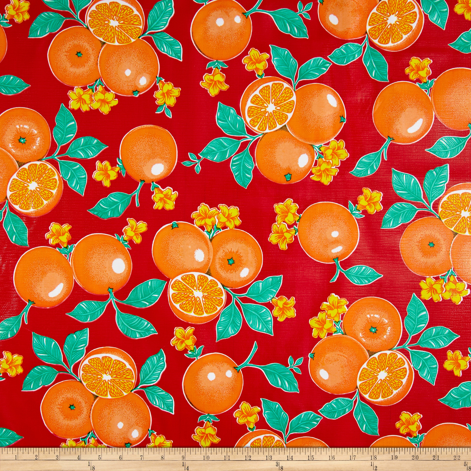 Oilcloth Oranges Red Fabric by Oilcloth International in USA