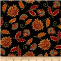 Moda Forest Fancy Fall Flowers Midnight Black