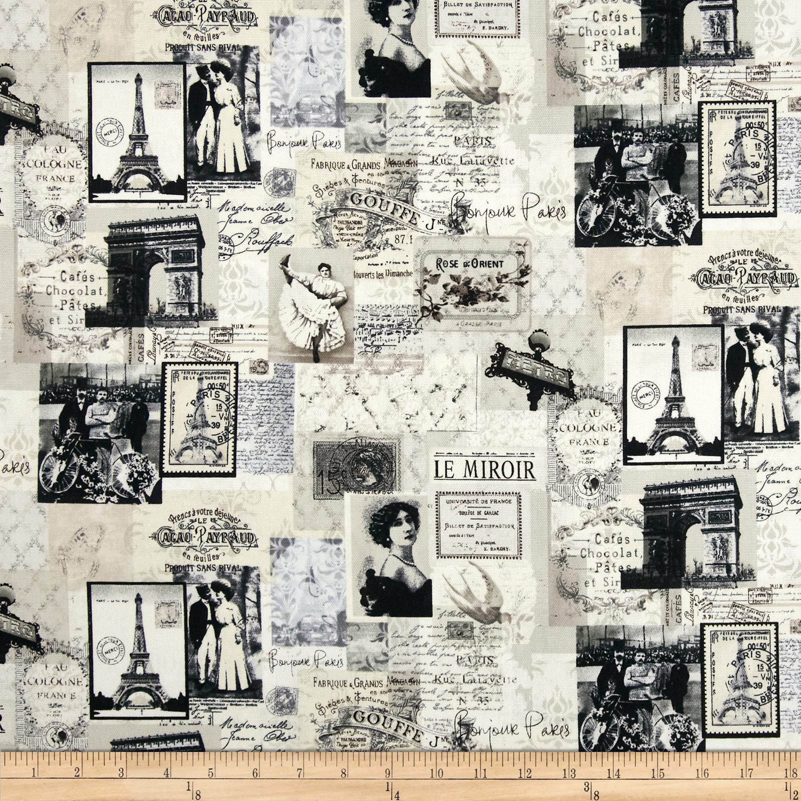 Timeless Treasures Canvas Paris News Cream Fabric