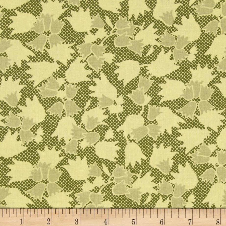 Thimbleberries Block Party Tone on Tone Tossed Tulips Green
