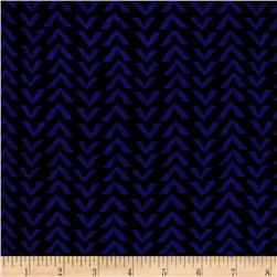 Triangle Stripes Rayon Challis Black/Electric Blue
