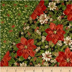 Christmas Day Double-Sided Quilted Poinsettias & Holly Red/Green