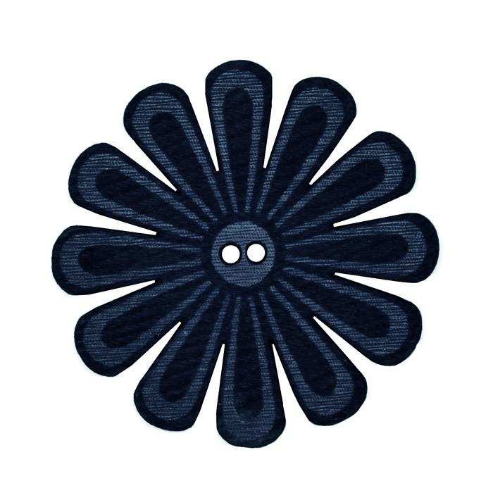 2.25'' Leather Button Mum Blue