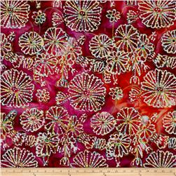 Indian Batik Embroidered Bright Mosaic Floral Fuchsia