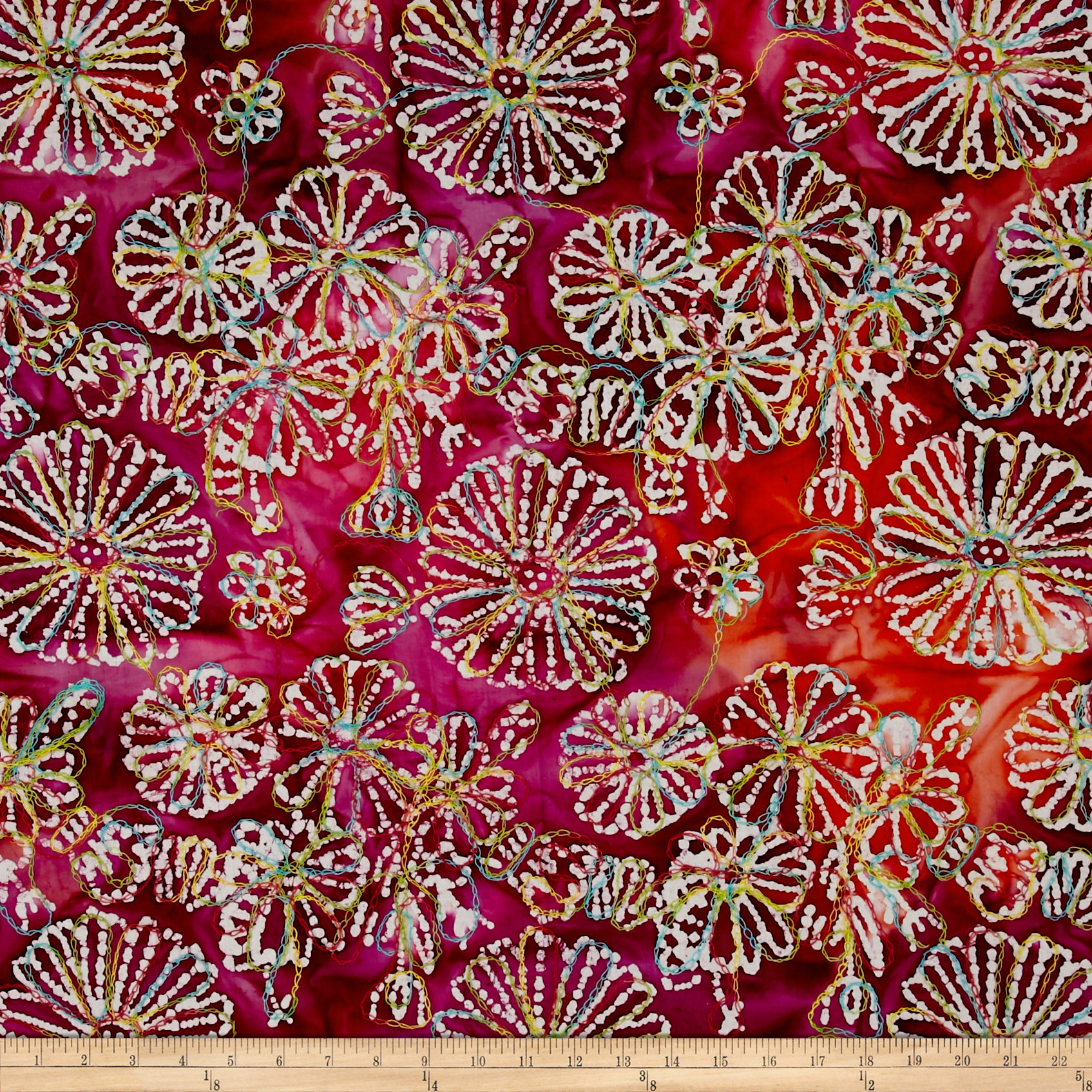 Indian Batik Embroidered Bright Mosaic Floral Fuchsia Fabric by Textile Creations in USA
