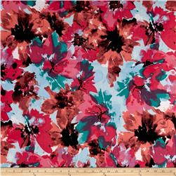 Stretch ITY Jersey Knit Brushstrokes Florals Coral