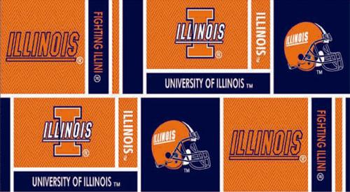 Collegiate Cotton Broadcloth University of Illinois Orange/Blue