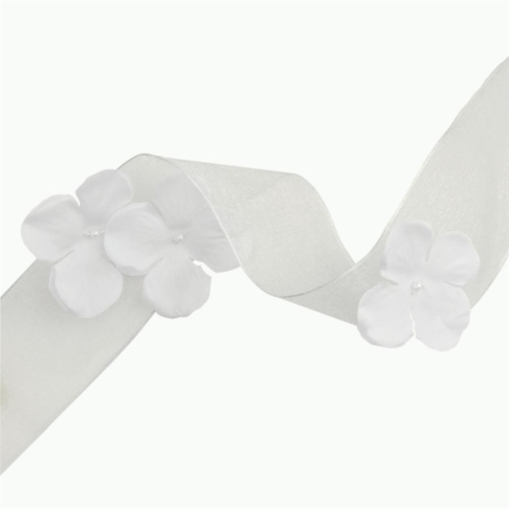 1 1/2'' Wired Organza Ribbon 3D Flowers White