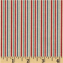Riley Blake Rocket Age Stripes Red Fabric